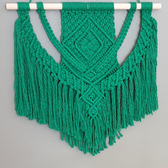 Green weave macrame wall hanging
