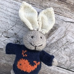 Amos the  Hand Knitted Bunny Rabbit Toy with Navy Whale Jumper