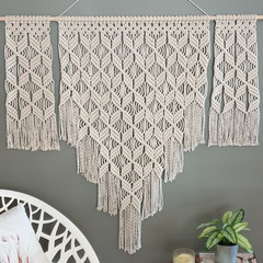 Large, 3 panel natural macrame wall hanging