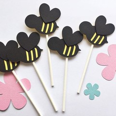 Bee Cupcake Toppers - Baby shower, birthday party decor.