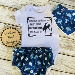 """What Lil Cowboys are made of"" Onesie Set Baby Boy"