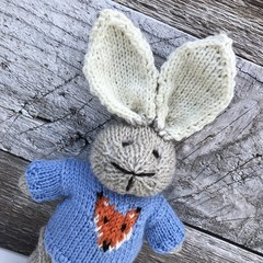 Finn the  Hand Knitted Bunny Rabbit Toy with Cute Blue Fox Jumper