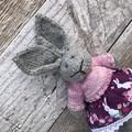 Scarlett the Knitted Bunny Rabbit Toy with Pink Jumper and Bunny Skirt