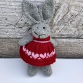Penny the Knitted Bunny Rabbit Toy with Red Party Dress with Pink Heart Detail
