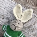 Will the  Hand Knitted Bunny Rabbit Toy with Green Jumper and Navy Pants