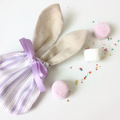 Easter Bunny Treat Bag- Lavender Stripes