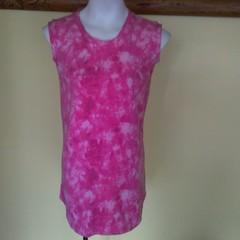 Pink tie-dye sleeveless tee shirt
