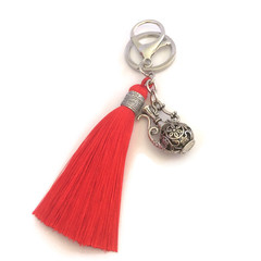 Red Tassel Bag Charm or Keyring, Boho Keyring,  KeyRing with Teapot Charm