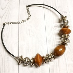 Wood and Silver Mixed Beaded Necklace
