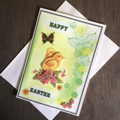 Two 3D Chicks and Butterfly 'Happy Easter' Card