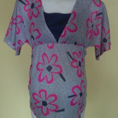 Pink and blue floral polyester top with insert