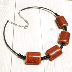 Chunky Ceramic Mixed Beaded Necklace