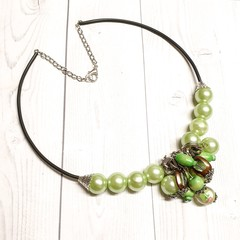 Green Mixed Beaded Necklace