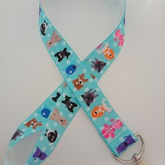Bright blue dog print lanyard / ID holder / badge holder