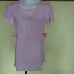 Pale pink linen look top, tied waist