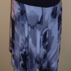 Handkerchief hem skirt with black ribbing waistband
