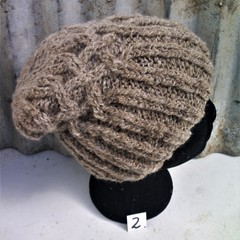 Pure Wool  Crossed  Cable Handspun Beanie