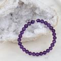 Amethyst Gemstone 6mm Beaded Bracelet