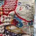 Clutch Bag with Red coloured vintage silk Kimono fabric