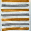 Mustard, Grey & White Newborn Hand Crocheted Bobble Baby Blanket