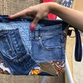 Clutch Bag from Up-cycled, jeans, leather and vintage materials