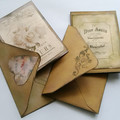 Set of Two Small Decorative Cards Vintage Style