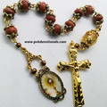 Blessed Sacrament Tenner-One Decade Rosary - Sparkly Brown Gemstone - 6x8mm bead