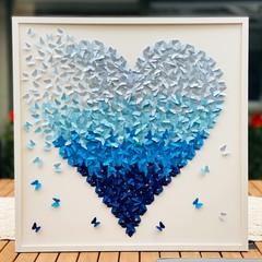Heart from paper butterflies in ombre blue