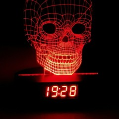 3D ILLUSION SKULL LED NIGHT LIGHTS WITH USB AND CLOCK DISPLAY