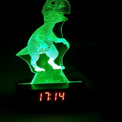 3D ILLUSION DINOSAUR LED NIGHT LIGHTS WITH USB AND CLOCK DISPLAY