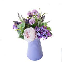 Artificial Purple Silk Flower Arrangement in Jug - Gift for Mum