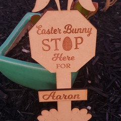 Personalised Easter Bunny stop sign