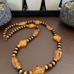 Amber Resin Wooden Beaded Necklace.