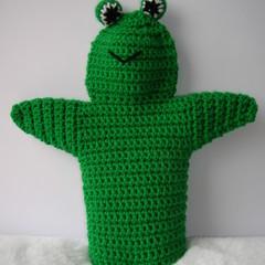 Frog Puppet - handmade crochet - ready to post