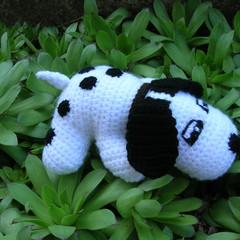 Dog - crochet spotty dog - handmade soft toy - ready to post