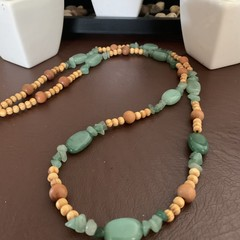 Green Jade Wooden Long Beaded Necklace.