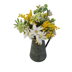 Artificial Australian Native Flower Arrangement in Vintage Tin Jug Centrepiece