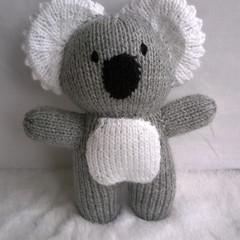 Koala - LIGHT GREY hand knitted softie toy koala - ready to post