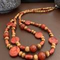 Carnelian & Red Jasper Wooden Double Stranded Necklace