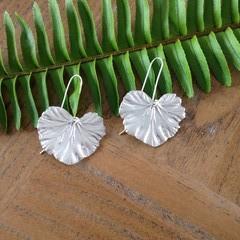 Recycled 99.9% Silver Nasturtium Leaf Earrings