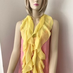 silk scarf, nuno felted buttercup yellow scarf