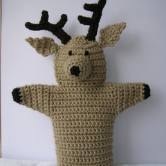 Reindeer Puppet - handmade crochet toy - ready to post