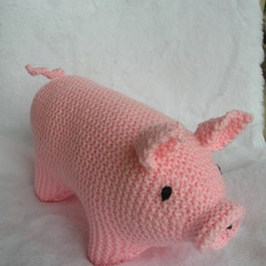 Pig - light pink piggy - Hand knitted soft toy - ready to post