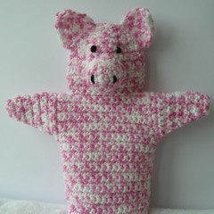 Pig Puppet - handmade crochet toy - ready to post