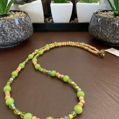 Lemon Jade & Wooden Long Necklace