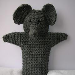 Elephant puppet - handmade crochet toy - ready to post
