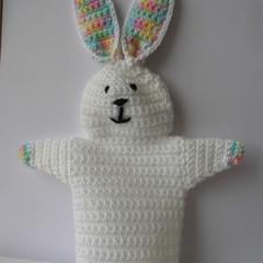 Rabbit Puppet - handmade crochet toy - ready to post