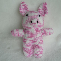 Pig - hand knitted softie toy piggy - ready to post