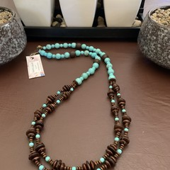Turquoise and Wooden Double Strand Necklace
