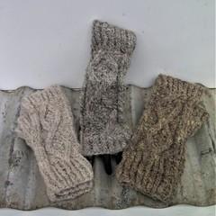 """Gloves """"Aran Style"""" Handspun Fingerless Gloves - Hand Knitted Pure Wool"""